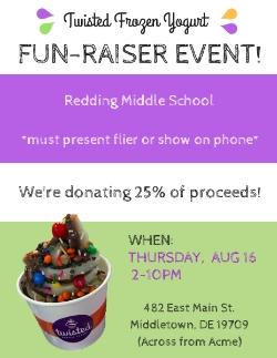 august 16 twisted frozen yogurt s fun raiser for redding middle